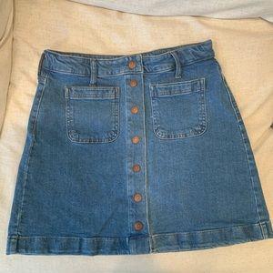 Madewell button down denim mini skirt